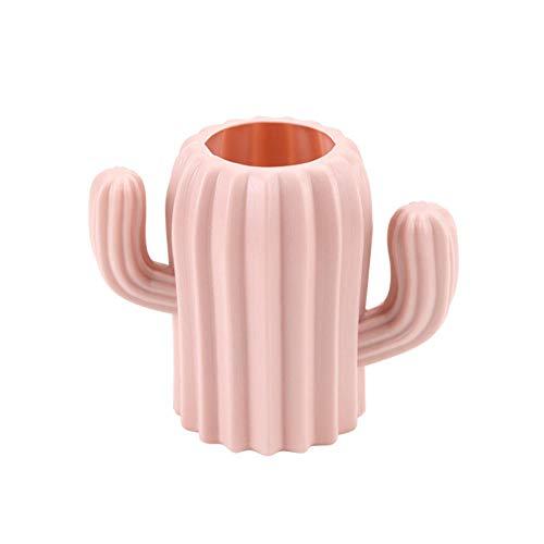 Jarrón de plástico para decoración de bodas, diseño de cactus, irrompible, color rosa