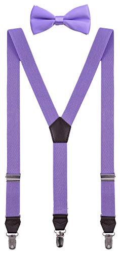 Shark Tooth Baby Boys Suspenders for Kids with Bow Tie Lavender Set 24'