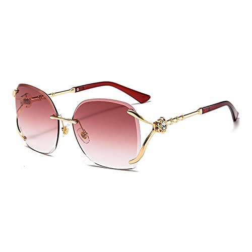 JINZUN Gafas de Sol de Metal con Diamantes, Fragancia pequeña, Gafas de Sol Elegantes, Montura Grande, Borde sin Montura, Gafas de Moda, Montura Dorada, película roja