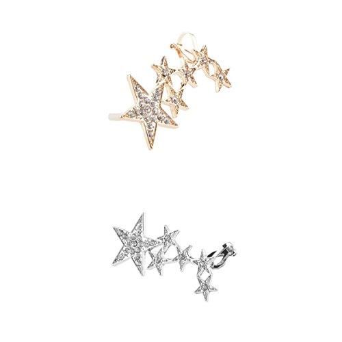 2pcs Estrellas Pendientes de Orejas Derecha Clip de Pendientes Sujeción de Manguito de Oído