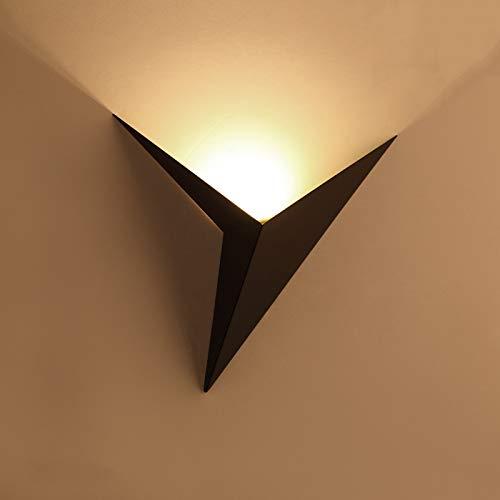 Lámpara de pared LED, lámpara de pared triangular moderna, potencia 3w, temperatura de color 3000k, longitud 25cm, adecuada para dormitorio, pasillo, sala de estar, escalera (luz cálida, negro)