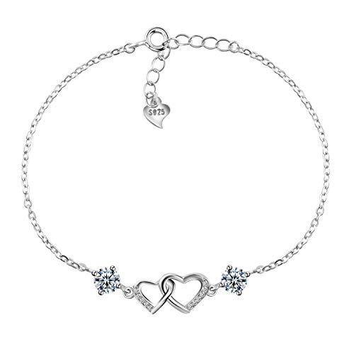 Amilril Bracelet Coeur Femme, Argent Sterling 925 Réglable Bijoux, Anniversaire, Mariage, Mariage, Cadeaux de Noël