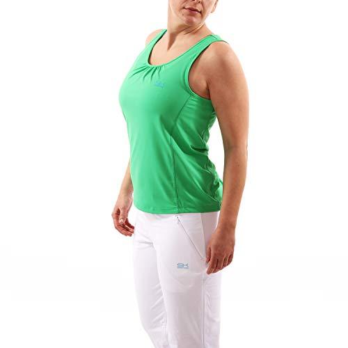 Sportkind Mädchen & Damen Tennis, Fitness, Sport Tanktop Loose Fit, atmungsaktiv, UV-Schutz UPF 50+, grün, Gr. 134