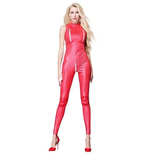 Sexy Stretch PU Latex Catsuit Frauen Schwarz Rot Wetlook Faux Leder Nacht Club Body Zipper Öffnen Gabelung Overall (Color : Red, Size : S)