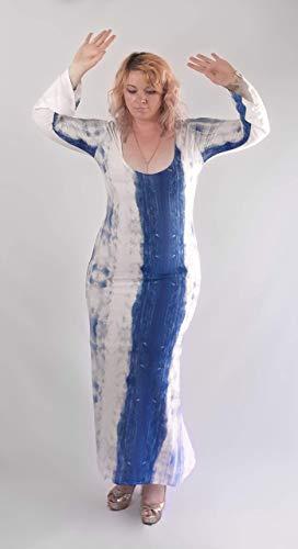 Watercolor Summer Beach Maxi Dress. Bluу White Thin Cotton Plus Size Dress. Long Bell Sleeve Asymmetric Pattern Scoop Neck Dress. KIMOD221 KIMN21 Size L-XL