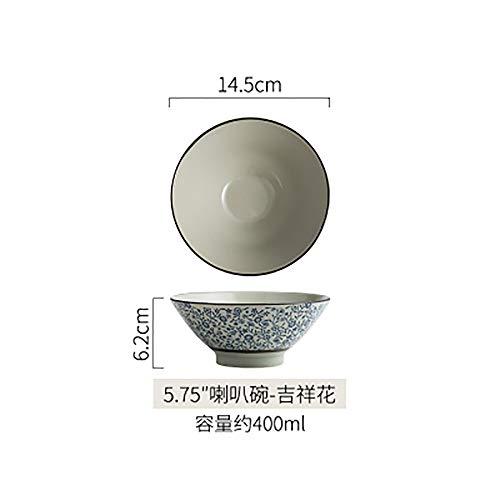 LLDKA Ciotola di Ceramica Creativa Giapponese tagliatelle Ciotola di Instant Noodles zuppiera Grande Ciotola Ristorante Studenti Ciotola casa,4