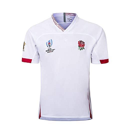 Pavilion Rugby Trikot England Japan Welt Tasse Zuhause Und Weg Kurz Ärmel Ausbildung Hemden Herren Beiläufig Sport T-Shirt (Color : White, Size : XL)