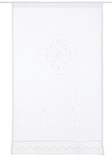 Home Fashion FENSTERBEHANG LEINENSTRUKTUR Bestickt, Stoff, weiß, 100 x 60 cm