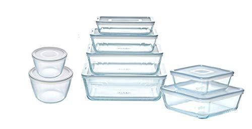 Pyrex - Cook & Freeze - Lot de 8 plats de conservation en verre avec couvercles hermétiques - Spécial congélation - Sans BPA