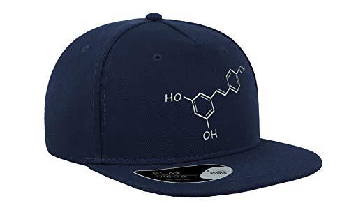 Vino Tinto Resveratrol Fórmula Química Bordada de la Ciencia de la Visera Plana Gorra Unisex Snapback Transpirable Sombrero de béisbol Gorra Fullcap Cómodo al aire libre Top