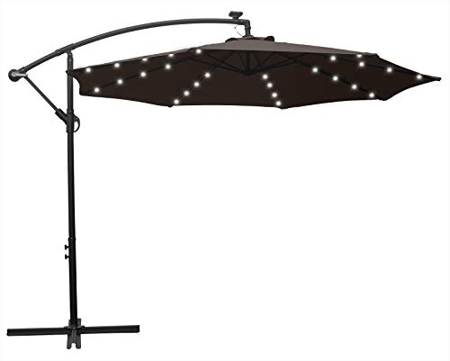 HENG FENG 10FT Solar Powered 32LED Lighted Patio Offset Umbrella Cantilever Umbrella Hanging Outdoor Market Umbrella with Crank and Cross Base, Coffee