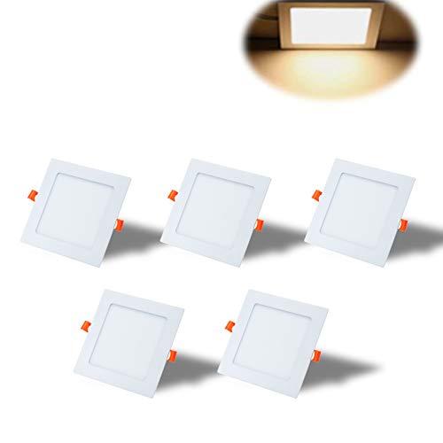 Yafido 5er Led Panel Ultraslim Einbauleuchte 12W ersetzt 70W Halogen 3000K 960 Lumen Eckig Spot Deckenlampe 230V Flach Einbaustrahler mit Teriber Nicht-dimmbar Ø170 x 11 mm