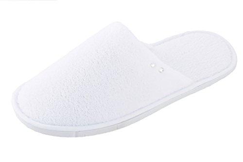 Dermal Vital Damen Slipper Hotelslipper wasserdichter Sohle Hausschuhe Sauna Schuhe mit Kristallsteinen geschlossene Kappe Farbe: weiß 1 Paar