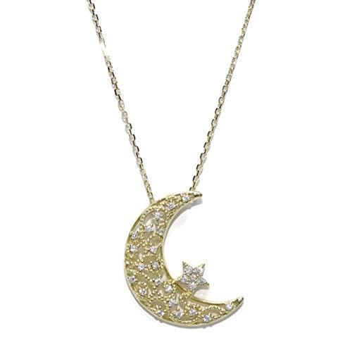Never Say Never Collar Luna de Oro Amarillo de 2.20cm de Alta...
