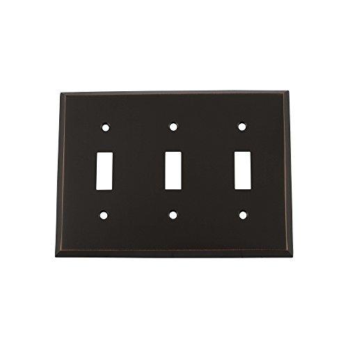 Nostalgic Warehouse 719628 New York - Placa de interruptor con triple palanca, bronce atemporal