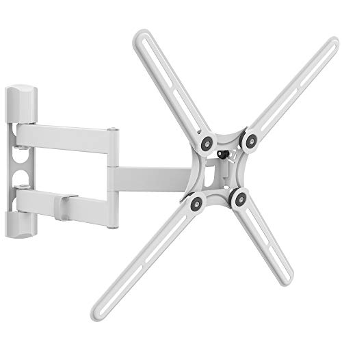 Barkan White TV Wall Mount, 13-65 inch Full Motion Articulating - 4 Movement Flat/Curved Screen Bracket, Holds up to 88 lbs, Patented, UL Listed, Fits LED OLED LCD