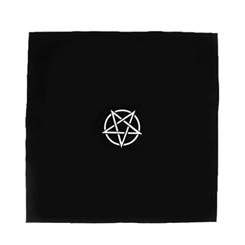 Jiamins Tarot-Tischdecke, quadratisch, Beflockung, hochwertig, Tarot-Teppich Poker Matte, Poker-Matte, 49 x 49 cm (schwarz)