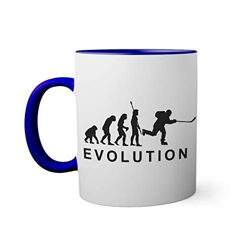 Evolution Of Ice Hockey Player Tasse innen und am Henkel dunkelblau außen weiß 330ml