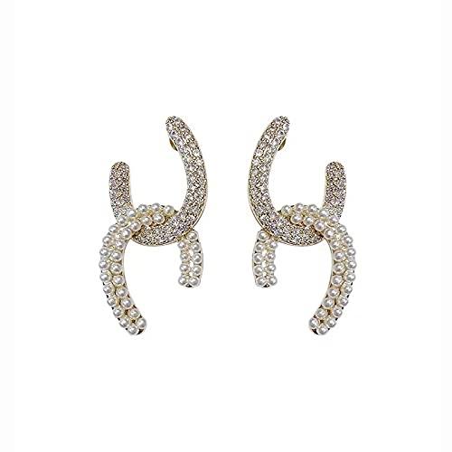S925 Aguja de plata Pendientes de doble C Pendientes de personalidad Pendientes de temperamento francés Pendientes de moda de perlas Pendientes
