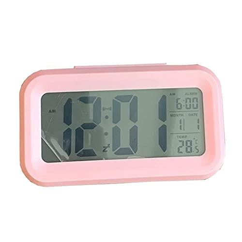 QYYL Despertador Electrónico, LED Digital Alarma Despertador, 12/24 H Reloj Alarma para Dormitorio, Alarmas y Función Snooze, Fácil de Usar, 13.5x7.4x4.6cm (Pink)