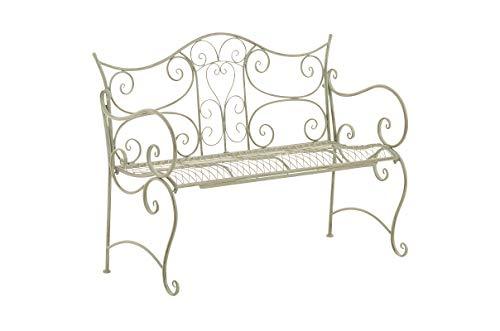 CLP Gartenbank Tara aus lackiertem Eisen I Sitzbank im Jugendstil I Eisenbank mit 2-3 Sitzplätzen I erhältlich, Farbe:antik-grün