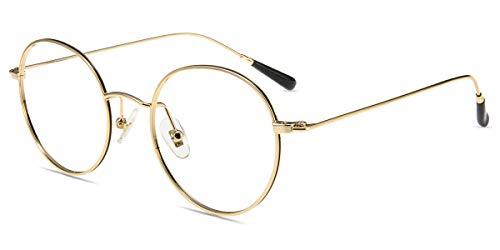 Firmoo Blaulichtfilter Brille Entspiegelt ohne Sehstärke Damen Herren, Runde Metall Computerbrille Anti Blaulicht Kopfschmerzen, UV Blaufilter Schutzbrille für Bildschirme (49-20-141, Schwarz-Gold)