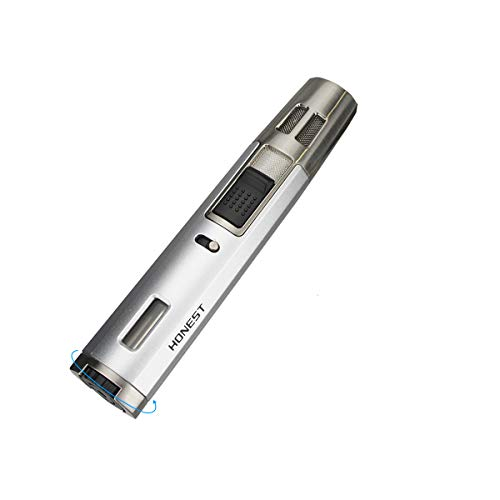 Long Butane Torch Lighters BBQ Lighter Candle Lighter for Gill Refillable Without Gas (Grey)