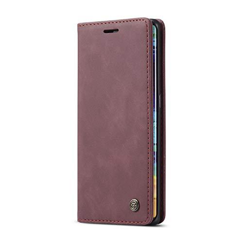 JMstore hülle kompatibel mit Huawei Mate 30 Pro, Leder Flip Schutzhülle Brieftasche Handyhülle mit Kreditkarten Standfunktion (Rot)