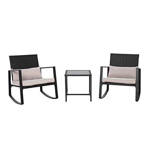 AmazonBasics 3-Piece Patio Bistro Rocking Chair Set with Tempered Glass Side Table and Cushions, Black