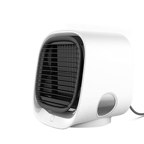 Tragbare Klimaanlage, 4-in-1-Mini-Klimaanlage, Tischventilator, Luftbefeuchter und 7-Farben-Nachtlicht, persönliche Verdunstungsklimaanlage mit einstellbarer Windgeschwindigkeit, Verdunstungskühler