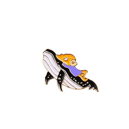 xuyang Broche de dibujos animados a la moda con diseño de peces de astronauta delfín, tiburón, ballena, origami, grúa esmaltada, bolsa de mezclilla para mujer (color metálico: tiburón)