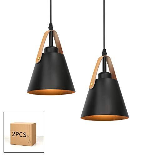 GBLY Lámpara colgante vintage negro E27 lámpara de mesa de comedor de plástico en aspecto metal, 2 piezas, lámpara de estilo industrial para cocina comedor sala de estar barra (sin bombilla)