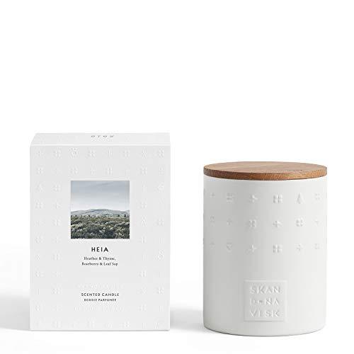 Skandinavisk Heia (Heathland) Ceramic Scented Candle with Oiled Oak Lid 300 g - Rapeseed wax blend