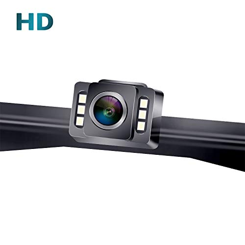 LeeKooLuu F11 HD 720P Car Backup Camera Hitch Rear View License Plate Camera with 6 Auto LED Lights Color Front View Camera IP69K Waterproof Super Night Vision Guide Lines ON/Off backup Cameras Vehicle