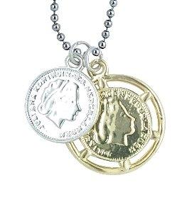 Behave lange halsketting met twee munten, zilver en goudkleurige ketting, sieraad