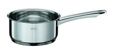 Rösle MOMENTS Stielkasserolle, hochwertiger Kochtopf mit Innenskalierung, Edelstahl 18/10, spülmaschinen-, ofen- und induktionsgeeignet, 16 cm Durchmesser