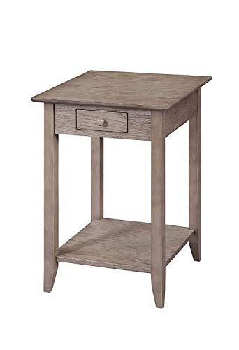 Convenience Concepts American Heritage End Table with Drawer and Shelf, Driftwood