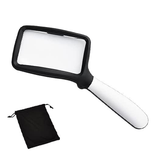 Vergrootglas Met 5 LED-lampjes – 3X Handheld Rechthoekig Vergrootglas,108×63 Mm Grote High-definition Acryllens,opvouwbaar,geschikt Voor Lezen,postzegels,sieraden,enz.