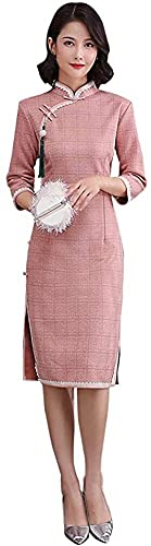 N\A ZT Vintage Chinese Chinese Cheongsam Suede Casual Qipao A-Line Swing Vestido Rosa