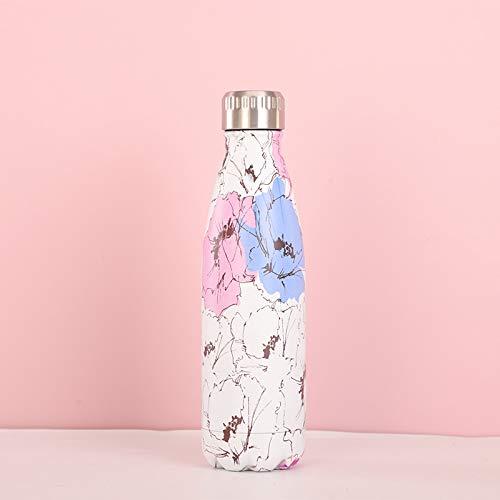 PPuujia Botella de agua creativa de acero inoxidable con aislamiento de doble pared, taza de té, café, viajes, deportes, bebida, termo (color: rosa)