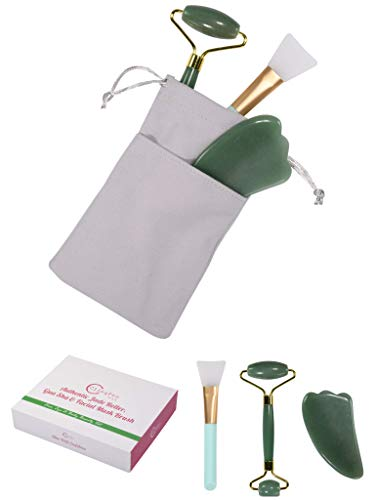 Authentic Real Jade Roller Gua Sha Scraping Massage Tools And Mask Brush – For Wrinkles Anti Aging (Green)