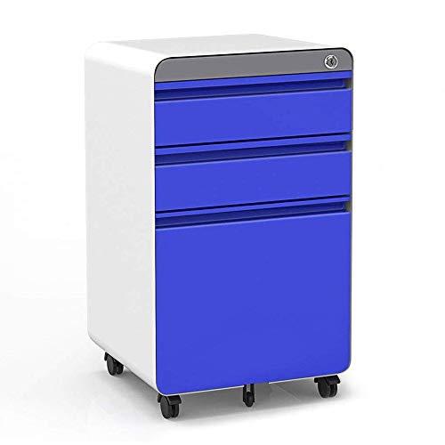 Dripex Metall Rollcontainer Stahl Rollcontainer mit 3 Schubladen und Hängeregistratur Abschließbarer Büroschrank Bürocontainer 5 Räder Aktenschrank 40 x 50 x 62 cm