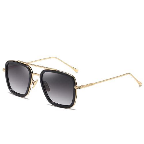 Gafas de sol de moda unisex, gafas de sol de hombre cuadrado, gafas de sol finas retro