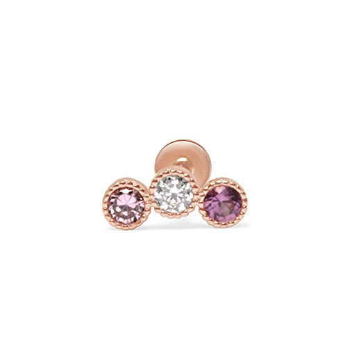 Estella Collection 14k Rose Gold 3-Stone Tourmaline CZ Ear Crawler Climber Milgrain Cartilage Stud Earrings|Cubic Zirconia| Helix Tragus Conch Ear Piercings | Internally Threaded Upper Ear Piercings