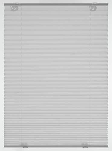 Gardinia Plissee Solo mit Saugnäpfen, Blickdichtes Faltrollo, Alle Montage-Teile inklusive, 2 Bedienschienen aus Aluminium, Grau, 40 x 130 cm (BxH)