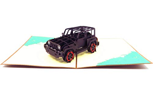 Black Jeep Birthday Card - Happy Birthday Card, Graduation Card, Congratulations Card, Retirement Card, Work Anniversary Card, Fathers Day Card, Jeep Greeting Card, Jeep Pop Up Card | Pop Card Express