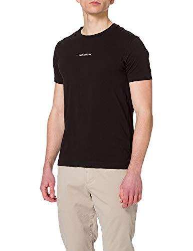 Calvin Klein Jeans Micro Branding Essential SS Tee T-Shirt, CK Nero, S Uomo
