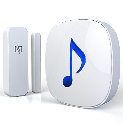 HTZSAFE Wireless Door/Window Magnetic Sensor Alarm-600 Feet Long Wireless Transmission Range-35 Classic Melodies Optional,4 Volume Levels & LED Flash-Home/Business DIY Burglar Alert Security System