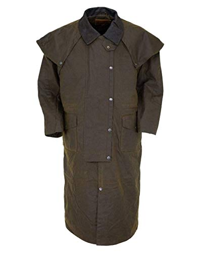 Outback Trading Men's 2056 Stockman Waterproof Breathable Extra-Long Cotton Oilskin Duster Coat, Bronze, Large