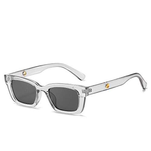 Gafas De Sol Hombre Mujeres Ciclismo Gafas De Sol Cuadradas Pequeñas para Mujer Gafas De Sol De Montura Estrecha para Hombre Gafas Rectangulares Retro Uv400-Clear_Gray
